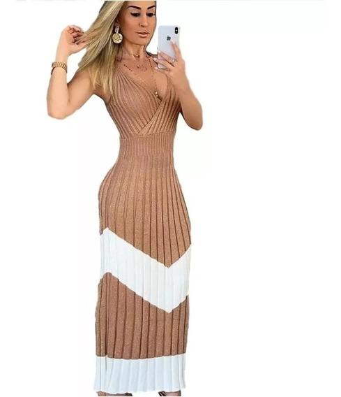 Vestido Longo Feminino Tricot Tricô Sereia Moda Plissado