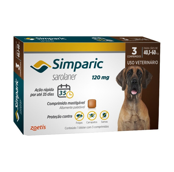 Simparic 120 Mg Para Cães 40,1 A 60 Kg