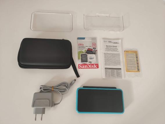 New Nintendo 2ds Xl 64gb Preto E Azul+ Case+ Garantia+ Jogos