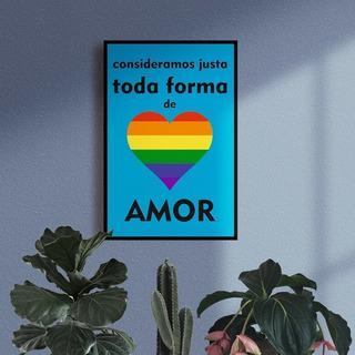 Quadro Decorativo Artesanal Frase Toda Forma De Amor... Lgbt