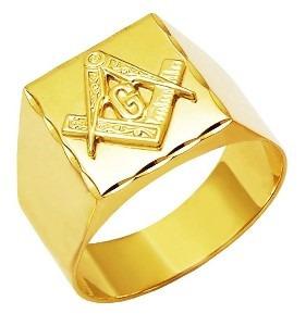 Anel Maçonaria Genuíno Ouro 18k K700 Quadrado