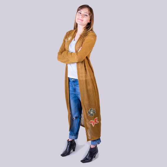 Tapado Tejido Lanilla Bordado Ecocuero Moda Fashion Eva Ind.