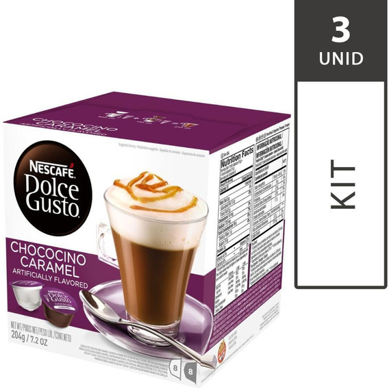 Kit 3 Cxs Cápsulas Dolce Gusto Chocolate C/caramelo 16 Unid