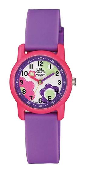 Relógio Feminino Infantil Rosa E Roxo Q&q Prova D