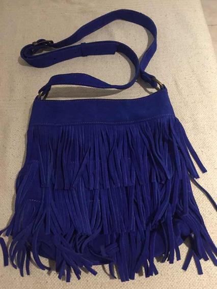 Cartera Bandolera Azul Eléctrico Con Flecos - Gamuza