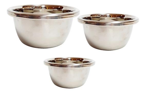 Set 3 Bowl De Acero Inoxidable Reforzador Batir Reposteria