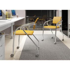 Conjunto 2 Cadeiras Carraro 1713 Escritório Cromado/amarelo
