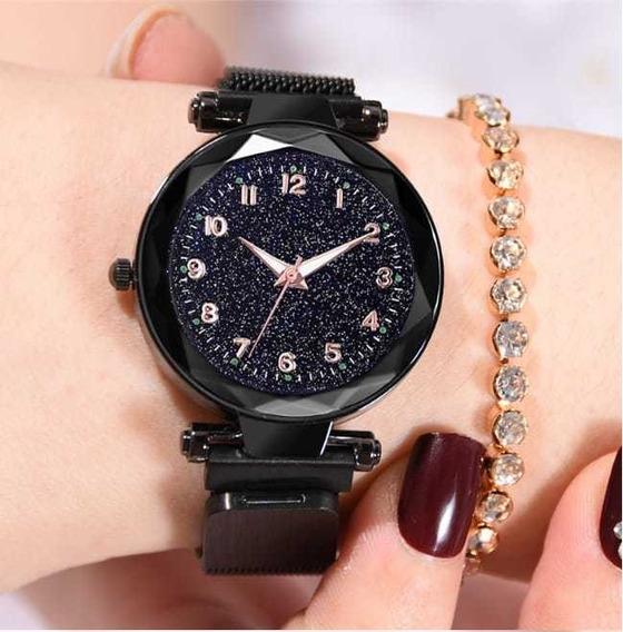 Relógio Feminino Ceu Estrelado Barato Pulseira Magnética