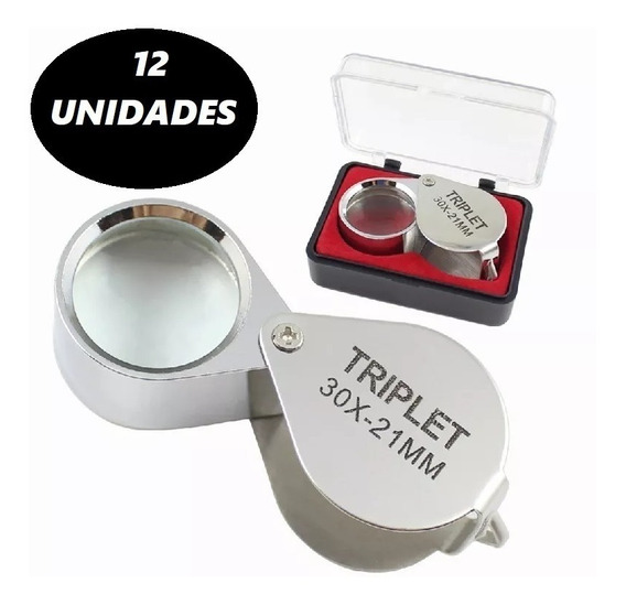 12 Mini Lupa De Joalheiro Perito Lente 21mm Aumento De 30x
