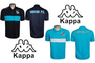 Kit Com 2 Camisas Pretas Polo Santos Kappa Original.