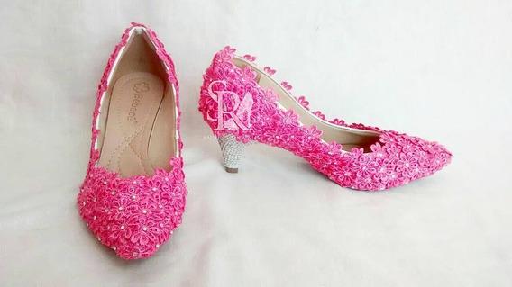 Scarpin Noiva / Casamento Flores E Strass Pink