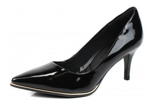 Sapato Scarpin Feminino Bebecê 7020-104 Preto Verniz