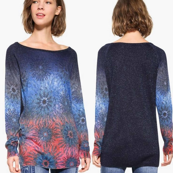Suéter Desigual Azul Marino Destellos