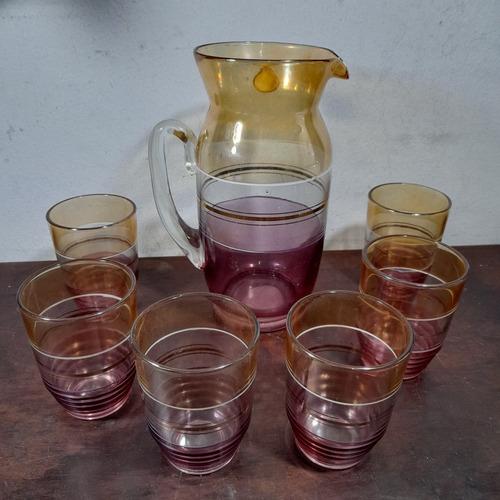 Imagem 1 de 4 de Jarra Pra Suco + 6 Copos Cristal Kelly Bom Estado. Antigo
