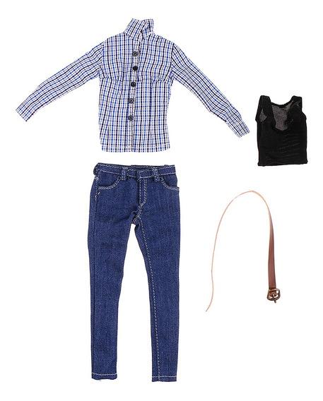 1/6 Feminino Azul Reticulados Camisa Jeans Mulheres Roupas P
