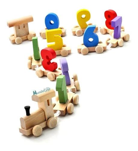 Imagen 1 de 4 de Tren Didáctico Aprendizaje Números Montessori Juguetes Niños