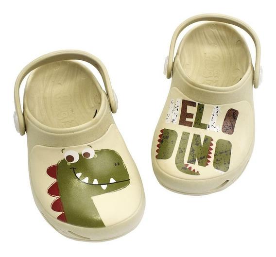 Babuche Ventor Baby Hello Dinossauro - Creme