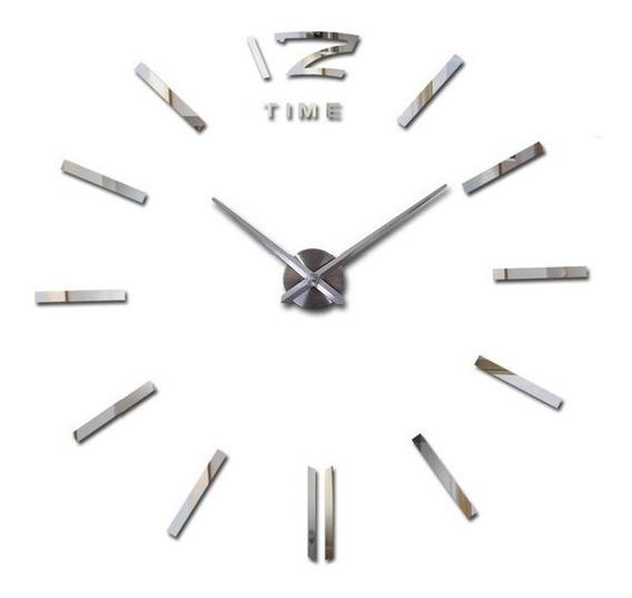 Reloj De Pared Gigante Minimalista 3d Diy Plateado