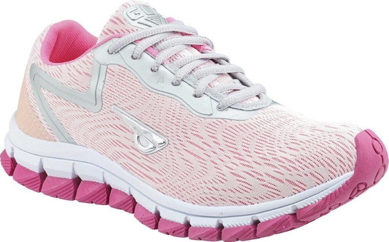 Tênis Esportivo Glk Feminino Original Branco Pink Corrida