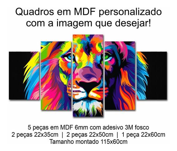 Quadros Decoração Evangélico Leão Judá Colorido - Mdf 6mm