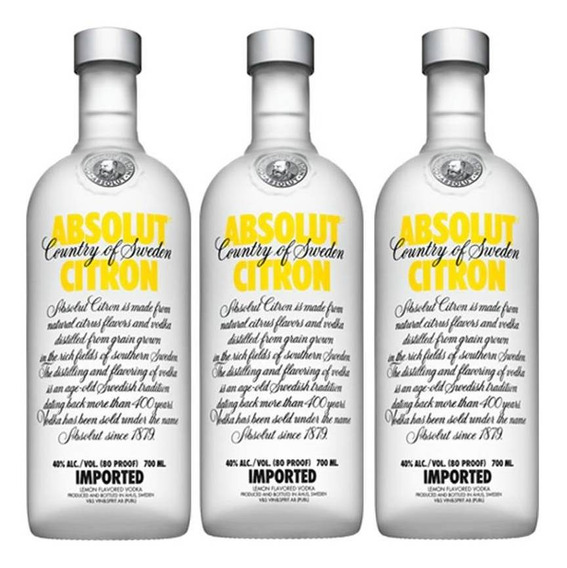 Vodka Absolut Citron 750ml 03 Unidades