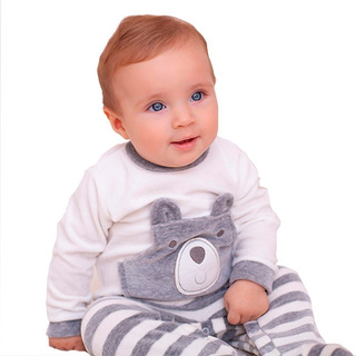 Macacão Longo Para Bebês Em Plush- Ursinho Marfim