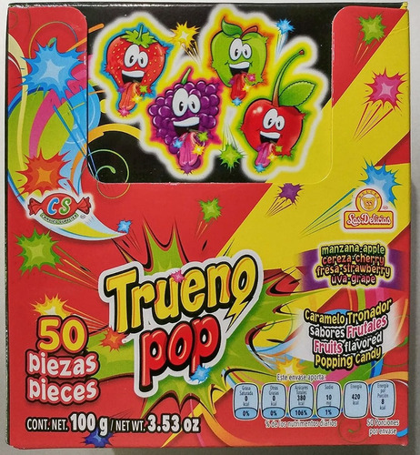 Imagen 1 de 1 de Trueno Pop Caramelo 50 Pza.