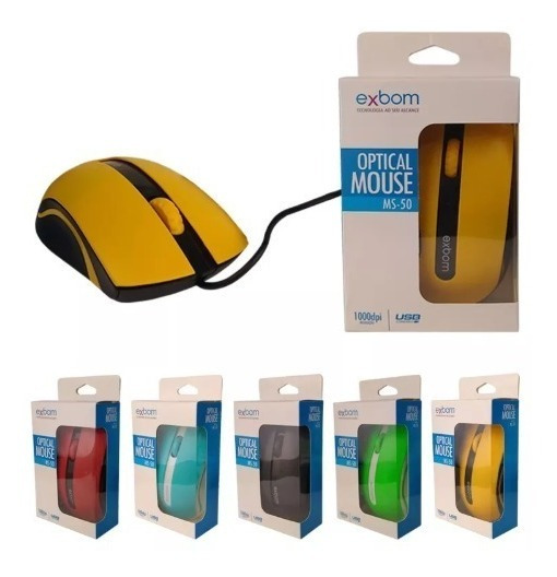 Mouse Gamer Usb Colorido 3d Exbom Ms-50 1000dpi Usb 2.0