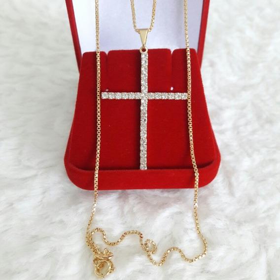 Colar Corrente Feminina Banhado Ouro 18k Crucifixo Semi Joia