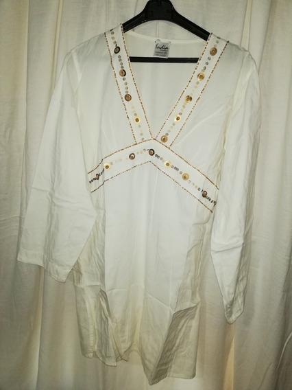 Camisola De Mujer Talle Xl/56 Color Natural Bordada