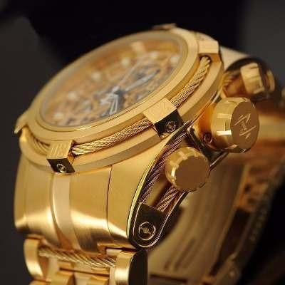 Relógio Invicta Zeus Skeleton Dourado Com Dourado