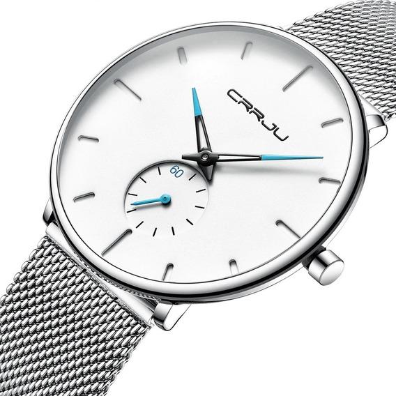 Reloj Hombre Minimalista Crrju Moda 2020 Con Caja Original