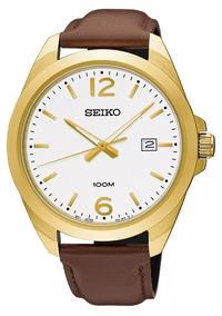 Relógio Seiko Unissex Couro Marrom Original Sur216b1 B2nx