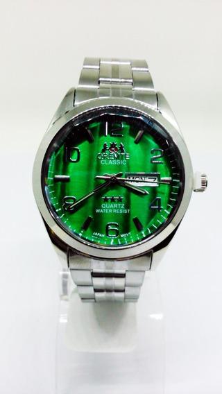 Relógio Orimet Masculino Calendário Fundo Verde