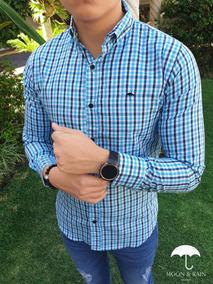 Camisa Slim Fit Cuadricula Aqua, Marino Moon & Rain Tiendas