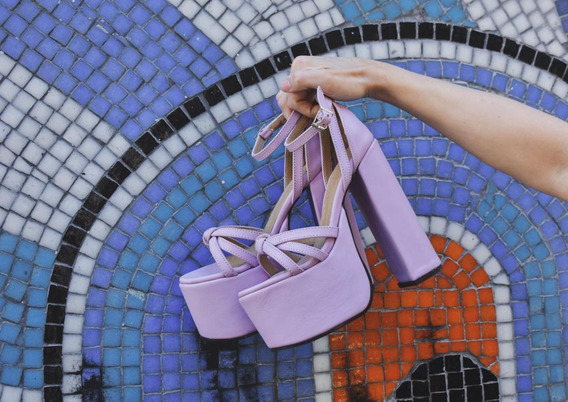 Zapatos Importado Lila Cuero Cruzados Plataforma Taco Alto