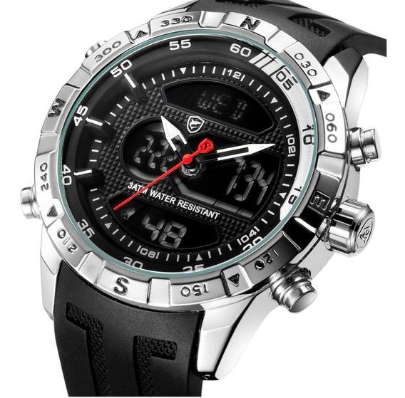 Relógio Masculino Shark Anadigi Sh-596 - Preto E Prata