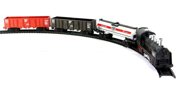 Ferrorama Trem Locomotiva E 3 Vagões Maria Fumaça Luz E Som