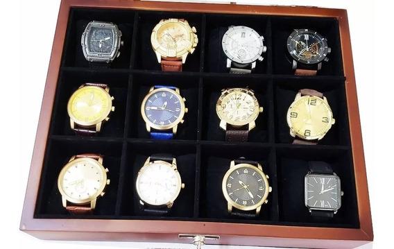 Kit 5 Relógio De Pulso Masculino Dourado Super Luxuoso + Fre