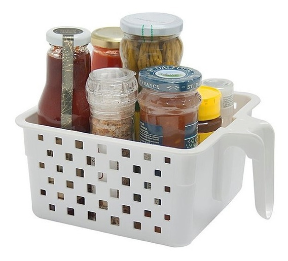 Cesta Organizadora Com Alça P/geladeira P Kit Com 3 Unidade