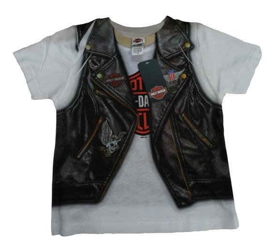 Playera Harley Davidson Niña Estampado Chaleco Camisa