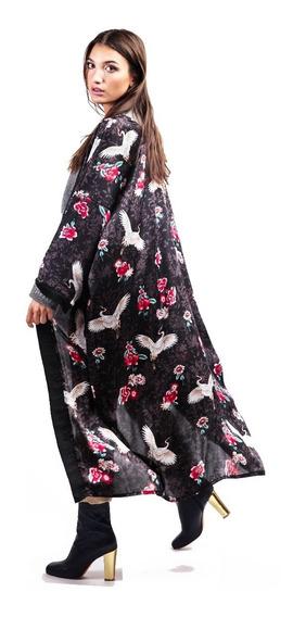 Kimono De Seda Vestido Japones Con Pajaros Grullas Negro