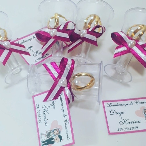 Lembrancinha Casamento Tacinha Aliancinhas Pink - Kit Com 50