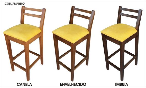 Banqueta Em Madeira Cadeira Alta Banco Amarel Hedcasa Moveis