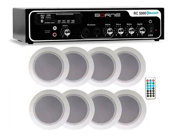 Kit Som Ambiente Borne Rc5000 Usb Fm 8 Arandelas Teto Gesso