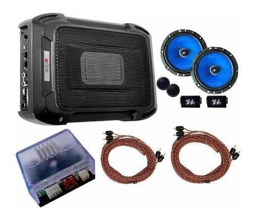 Caixa Slim + Kit 2 Vias 6 + Módulo Amplificador Cabos Rca +