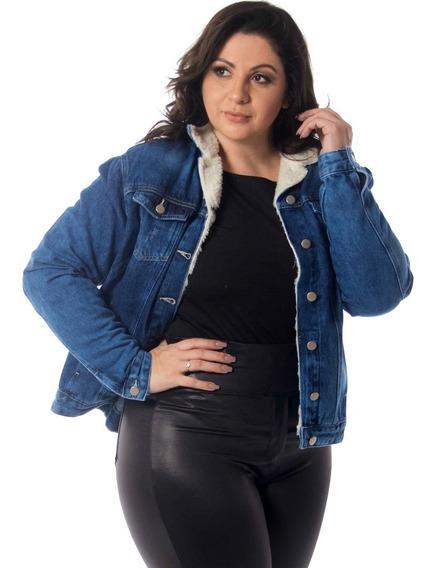 Jaqueta Feminina Jeans Azul Com Pelos De Carneiro Plus Top