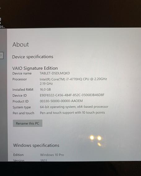 Vaio Z Canvas Com Stylus E Pasta Originais/ 16gb - 500mb Ssd