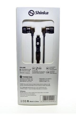 Fone De Ouvido Shinka Intra-auriculares Sh-300 C/ Microfone