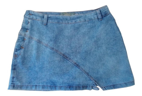 Imagem 1 de 3 de Saia Jeans Plus Size Feminina Curta C Botões Encapados Lycra